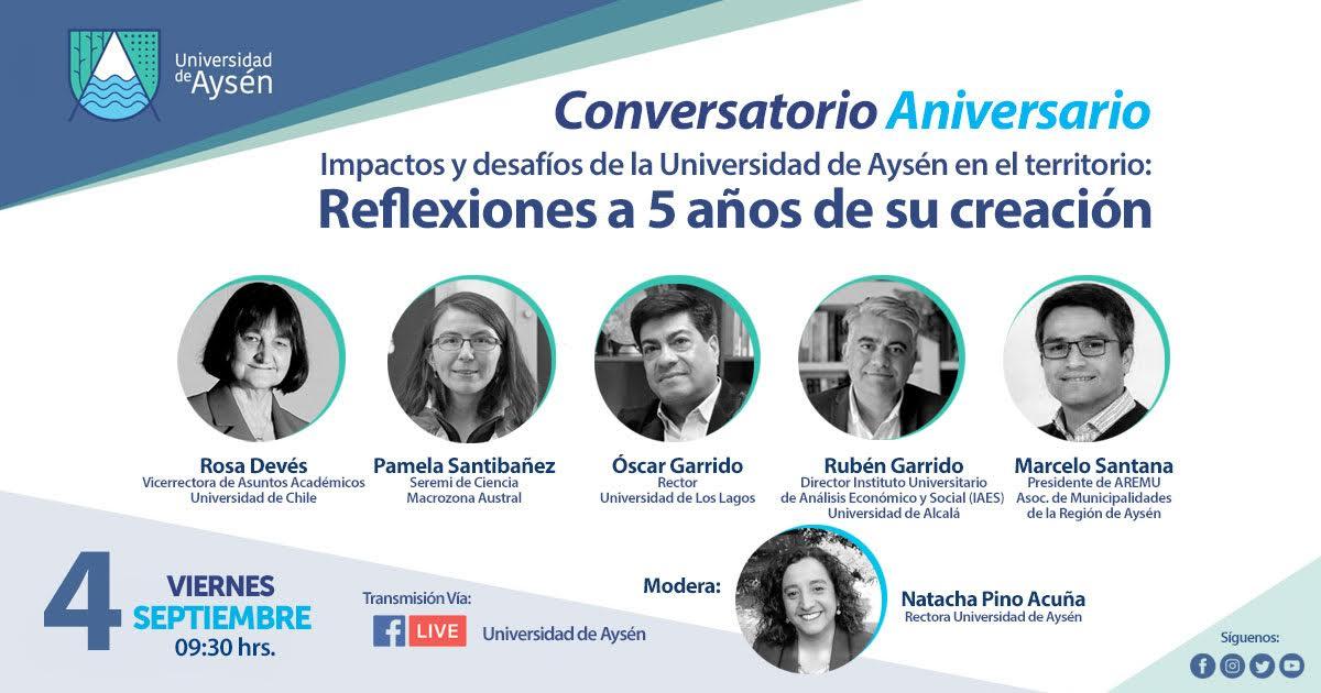 """Conversatorio Aniversario: """"Impactos y desafíos de la Universidad de Aysén en el Territorio"""""""